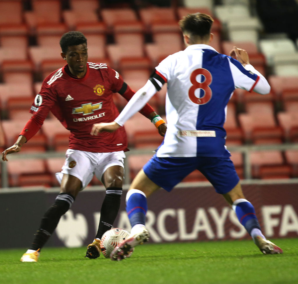 LEIGH, ENGLAND - FEBRUARY 05: Amad of Manchester United U23s in action during the Premier League 2 match between Manchester United U23s and Blackburn Rovers U23s at Leigh Sports Village on February 05, 2021 in Leigh, England.