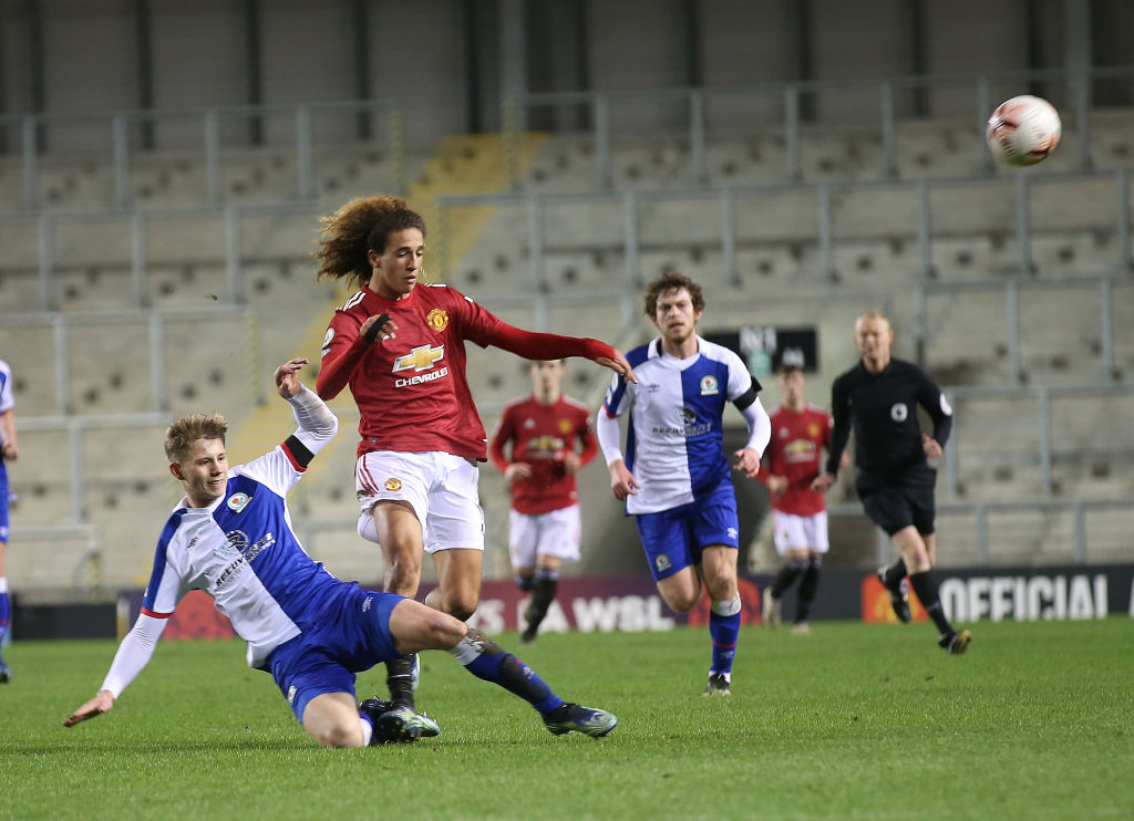 LEIGH, ENGLAND - FEBRUARY 05: Hannibal Mejbri of Manchester United U23s in action during the Premier League 2 match between Manchester United U23s and Blackburn Rovers U23s at Leigh Sports Village on February 05, 2021 in Leigh, England. (