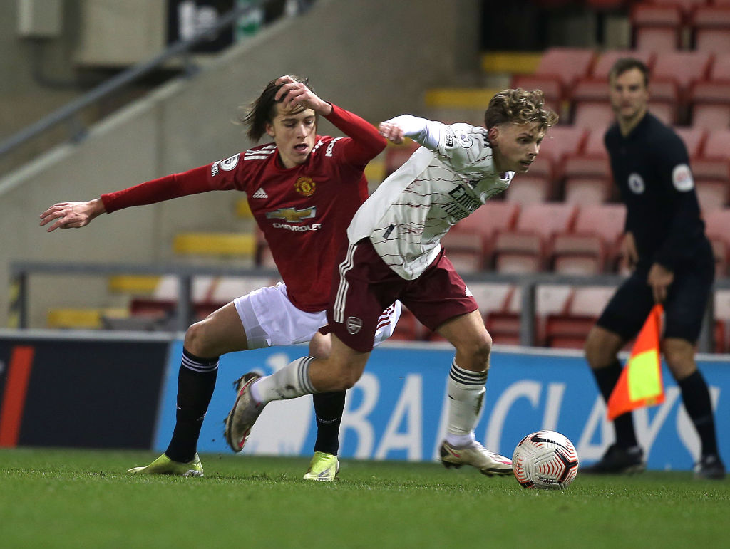 LEIGH, ENGLAND - FEBRUARY 12: Alvaro Fernandez of Manchester United U23s in action during the Premier League 2 match between Manchester United U23s and Arsenal U23s at Leigh Sports Village on February 12, 2021 in Leigh, England. best players