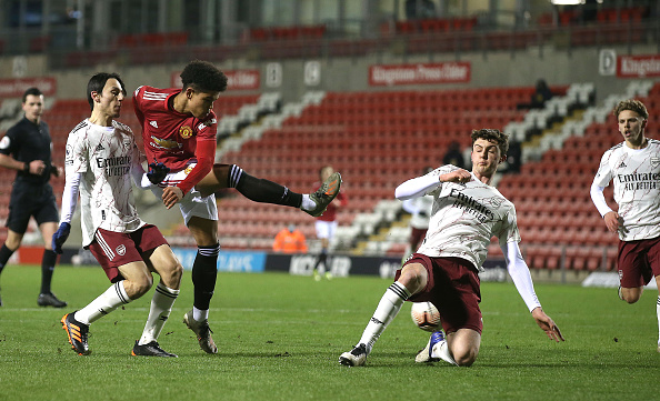LEIGH, ENGLAND - FEBRUARY 12: Shola Shoretire of Manchester United U23s in action during the Premier League 2 match between Manchester United U23s and Arsenal U23s at Leigh Sports Village on February 12, 2021 in Leigh, England. best players