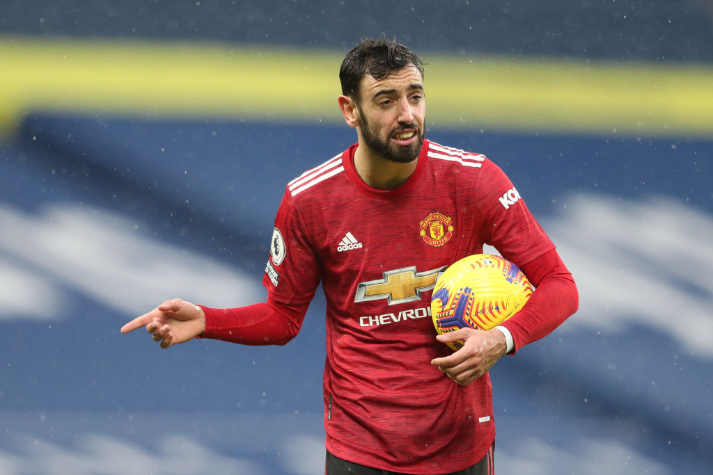 WEST BROMWICH, ENGLAND - FEBRUARY 14: Bruno Fernandes of Manchester United reacts after a no penalty decision during the Premier League match between West Bromwich Albion and Manchester United at The Hawthorns on February 14, 2021 in West Bromwich, England. VAR decisions refereeing decisions Maguire