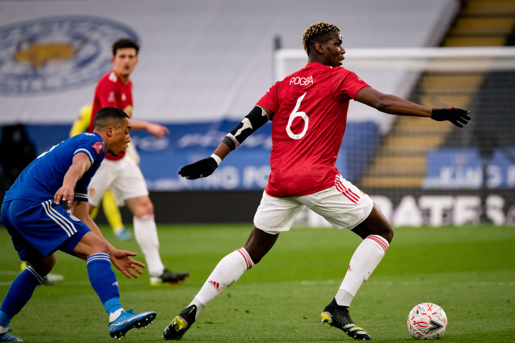 LEICESTER, ENGLAND - MARCH 21:   Paul Pogba of Manchester United in action during the Emirates FA Cup Quarter Final match between Leicester City and Manchester United at The King Power Stadium on March 21, 2021 in Leicester, England. Sporting stadiums around the UK remain under strict restrictions due to the Coronavirus Pandemic as Government social distancing laws prohibit fans inside venues resulting in games being played behind closed doors.