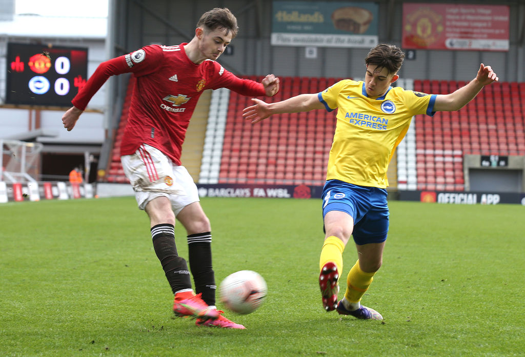 LEIGH, ENGLAND - MARCH 12: (EXCLUSIVE COVERAGE) Joe Hugill of Manchester United U23s in action during the Premier League 2 match between Manchester United U23s and Brighton and Hove Albion U23s at Leigh Sports Village on March 12, 2021 in Leigh, England.