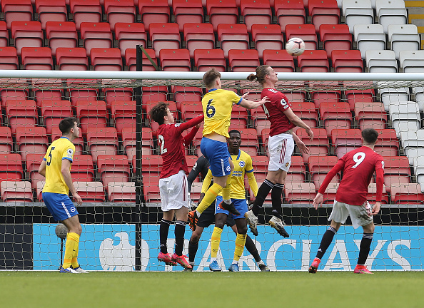 LEIGH, ENGLAND - MARCH 12: (EXCLUSIVE COVERAGE) Max Taylor of Manchester United U23s in action during the Premier League 2 match between Manchester United U23s and Brighton and Hove Albion U23s at Leigh Sports Village on March 12, 2021 in Leigh, England.