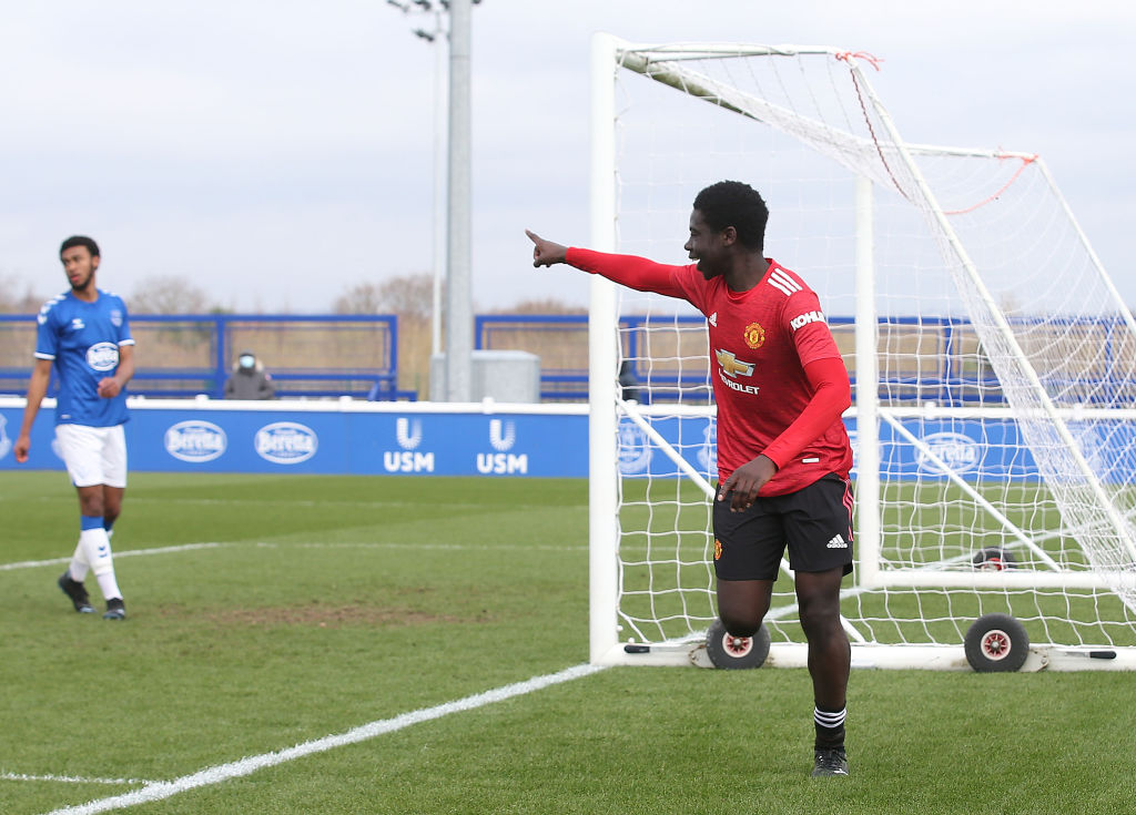 HALEWOOD, ENGLAND - MARCH 20: Omari Forson of Manchester United U18s celebrates scoring their first goal during the U18s Premier League match between Everton U18s and Manchester United U18s at USM Finch Farm on March 20, 2021 in Halewood, England.