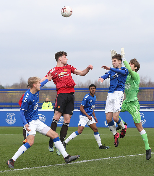 HALEWOOD, ENGLAND - MARCH 20: Will Fish of Manchester United U18s in action during the U18s Premier League match between Everton U18s and Manchester United U18s at USM Finch Farm on March 20, 2021 in Halewood, England.