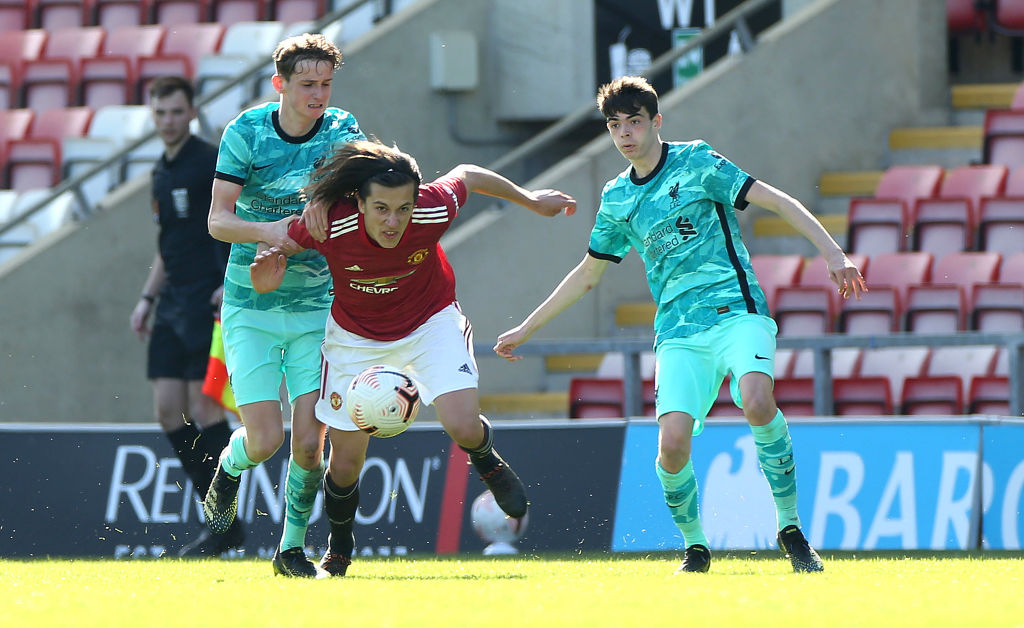 LEIGH, ENGLAND - APRIL 03: Alvaro Fernandez of Manchester United U18s in action during the FA Youth Cup match between Manchester United U18s and Liverpool U18s at Leigh Sports Village on April 03, 2021 in Leigh, England.