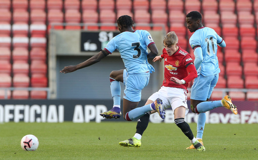 LEIGH, ENGLAND - APRIL 09: Brandon Williams of Manchester United U23s in action during the Premier League 2 match between Manchester United U23s and West Ham United U23s at Leigh Sports Village on April 09, 2021 in Leigh, England.