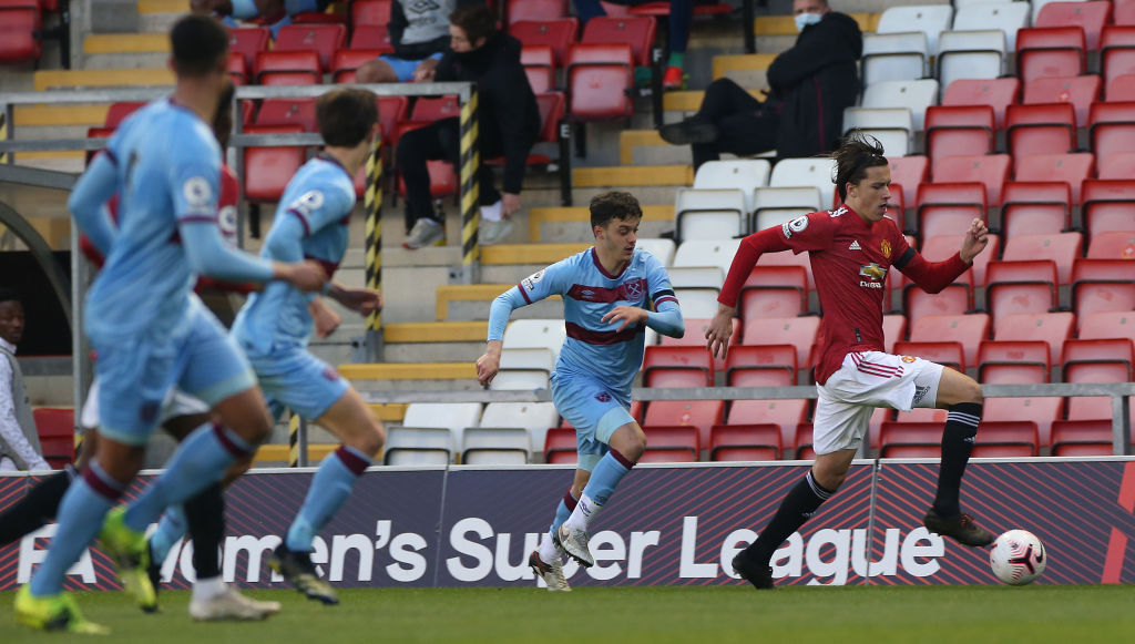 LEIGH, ENGLAND - APRIL 09: Alvaro Fernandez of Manchester United U23s in action during the Premier League 2 match between Manchester United U23s and West Ham United U23s at Leigh Sports Village on April 09, 2021 in Leigh, England.