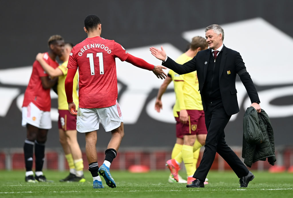 Solskjaer talks to Mason Greenwood after a fantastic performance in the United win
