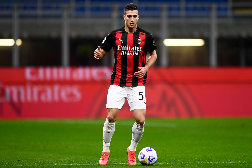 Diogo Dalot of AC Milan in action during the Serie A