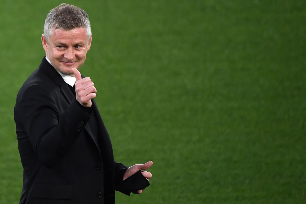 Ole Gunnar Solskjaer coach of Manchester United reacts prior